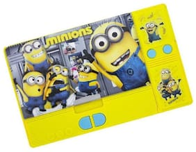 Shribossji Art Plastic Double Sided Pencil Box With Hidden Chamber With Durable Quality And Smooth Button Function (Minion )