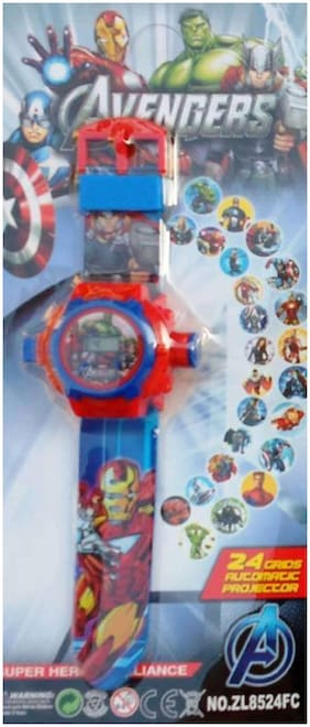 Shribossji Avengers Digital Projector Watch For Kids - 24 Design Hologram (Multicolor)