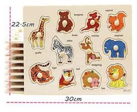 Shribossji Colorful Learning Educational Wooden Animal Puzzle For Kids / Children With Knobs - Wild Animals (Multicolor)