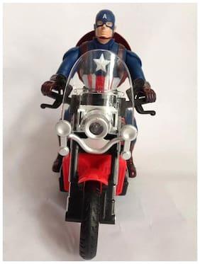 Shribossji Captain America Civil War Musical Motor Bike With Sound, Bump & Go, Flashing Top Lights Toy For Kids (Multicolor)