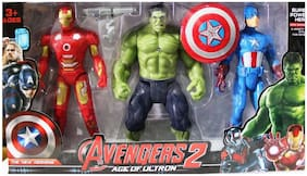 Shribossji Iron Man, Hulk & Captain America Trio Pack Big Size With Exclusive Weapons For Kids (Multicolor)