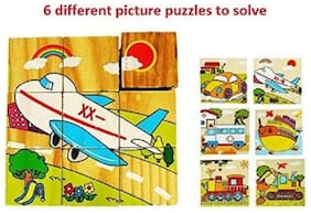 SHRIBOSSJI WOODEN TRANSPORT VEHICLE PUZZLE WITH 6 DESIGN  (9 WOODEN BLOCK) - PREMIUM QUALITY