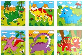 SHRIBOSSJI WOODEN PUZZLE DINOSAUR THEME (JURASSIC) WITH 6 DESIGN  (9 WOODEN BLOCK) - PREMIUM QUALITY