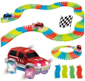 Shrines Car Magic Tracks Bend Flex Night Glow Running Car Toy for Kids Gifting - 11 ftIt