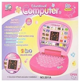 Shrines Educational Learning Kids Laptop, LED Display, with Music, Assorted Color