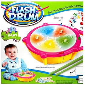 Shrines Flash Drum Set With Music And Lights Electronic Touch Flash Visual 3d Lights With 3 Game Mode & Dynamic Music Toy For Kids / Children
