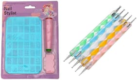 Shrines Nail Art Stamping Kit with Double Sided Nail Art Dotting Tool