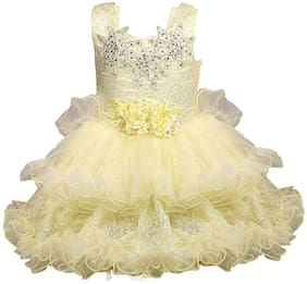 Silver Kraft Baby girl Net Solid Princess frock - Cream