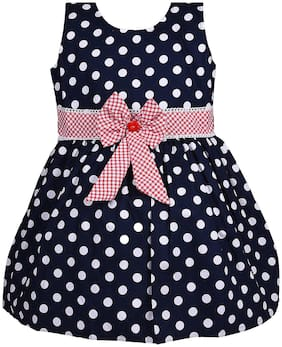 Silver Kraft Baby girl Cotton Solid Princess frock - Blue