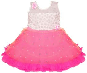 Silver Kraft Baby girl Net Solid Princess frock - Pink