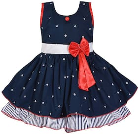 Silver Kraft Blue Cotton Sleeveless Knee Length Princess Frock ( Pack of 1 )