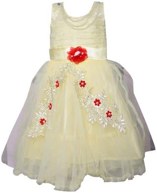 Silver Kraft Baby Girls Net Partywear Long Frock Dress - (LF146cnw_3-4 Years_White)
