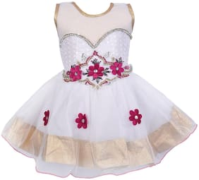 Silver Kraft Baby girl Net Solid Princess frock - White