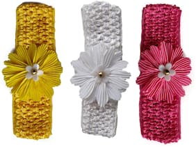 Silver Kraft Hair Band/Head Band Accessory for Baby Girls - Set of 3 pcs - (Multicolor)