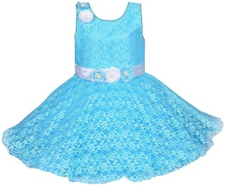 Silver Kraft Baby girl Net Solid Princess frock - Blue