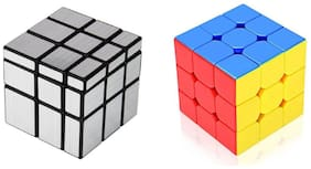 Silver Mirror & 3x3 Combo Puzzle Cube Toy for Kids & Adults