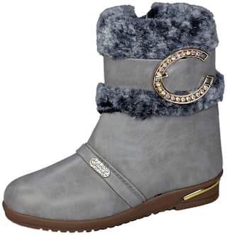 SIM STYLE Grey Girls Boots