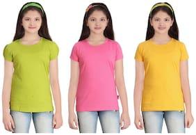 Sinimini Girl Cotton Solid T shirt - Multi