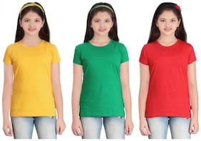 Sinimini Girl Cotton Solid T shirt - Multi