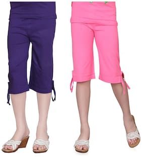 Sinimini Girls Multicolor Capri (2-3 Years) (Pack Of 2)