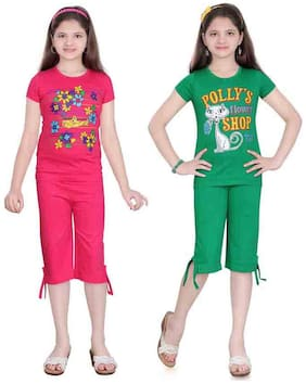 Sinimini Multi Color Top And Capri Pack Of 2 (2-3 Years)