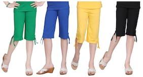 Sinimini MultiColor Girls Plain Capri (Set Of 4) (Size- 2-3Y)