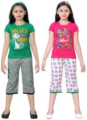 Sinimini Multicolor Girls Cute Printed Top Bottom Set (12-18 Months) (Set Of 2)