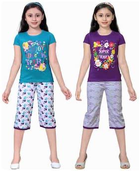 Sinimini Multicolor Girls Cute Printed Top Bottom Set (4-5 Years) (Set Of 2)