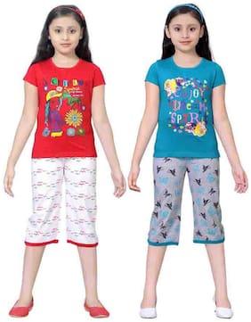 Sinimini Multicolor Girls Cute Printed Top Bottom Set (12-18 Months) (Set Of 2)