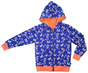 KiddoPanti Boy Cotton Printed Winter jacket - Blue