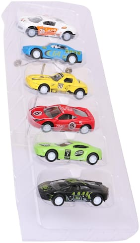 Skee Die Cast Cars Pull Back Metal Car Set Collection of Toy Cars for Children Multi Color Pack Of 6