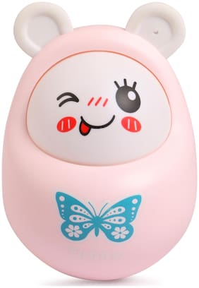 Skee Push and Shake Wobbling Durable Roly Poly Tumbler Doll with Soft and Sweet Bell Sounds,Pink