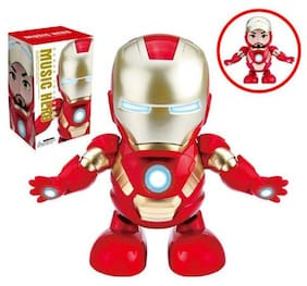 Skylare Iron Man Dancing Action Figure Superhero Robot With Lights And Music For Kids