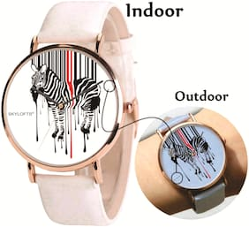 Skylofts Analogue White Dial Solar Color Changing Kids Watch with Zebra Pattern (Changes to Blue)