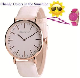 Skylofts Analogue White Dial Solar Strap Color Changing Watches for Girls (Changes to Pink)