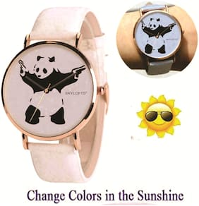 Skylofts Analogue White Dial Solar Color Changing Watches for Boys with Panda Pattern (Changes to Blue)