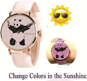 Skylofts Analogue White Dial Solar Color Changing Watches for Girls with Zebra Pattern (Changes to Pink)