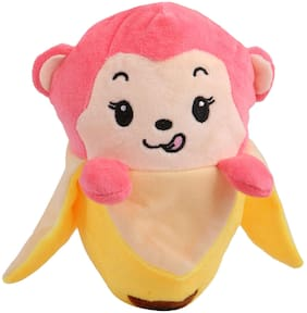 Skylofts Birthday Gift for Boys & Girls - Pink Monkey In Banana Soft Toy