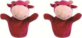 Skylofts Cow Animal Soft Toy Hand Puppets for Kids , Multi Color (Pack of 2)
