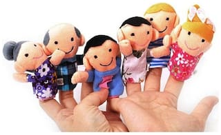 Skylofts Cute Pack of 6 Finger Puppets Family Set for Boys & Girls Soft Toys