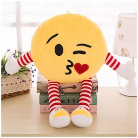 Skylofts Cute 35cm Kissing Emoji Stuffed Smiley Cushion Emoji Pillow Soft Toy with legs and hands (Kissing Emoji)