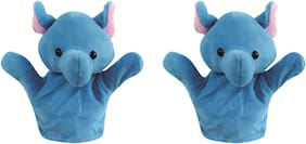 Skylofts Elephant Animal Soft Toy Hand Puppets for Kids , Multi Color (Pack of 2)