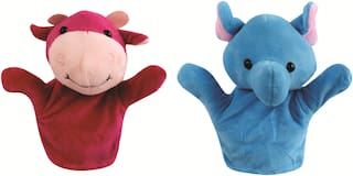 Skylofts Elephant & Cow Animal Hand Puppets for Kids , Multi Color (Pack of 2)