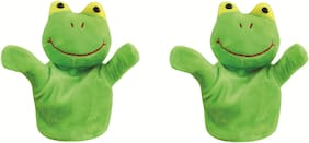 Skylofts Frog Animal Soft Toy Hand Puppets for Kids , Multi Color (Pack of 2)