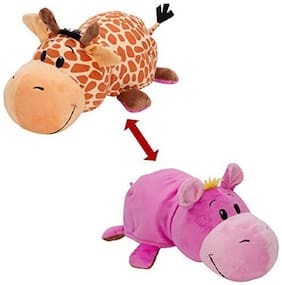 Skylofts (Hippo + Giraffe) 2-in-1 Stuffed Animal 40.64 cm (16 inch) Soft Toy- Plush Animals that Transform from one Animal to Other with a Quick Flip.