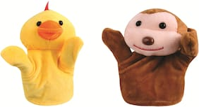 Skylofts Monkey & Duck Animal Hand Puppets Soft Toys for Kids , Multi Color (Pack of 2)