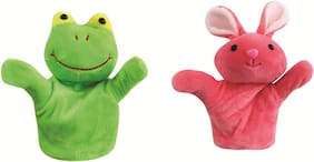 Skylofts Rabbit & Frog Animal Hand Puppets for Boys & Girls , Multi Color (Pack of 2)