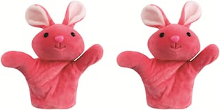 Skylofts Rabbit Animal Soft Toy Hand Puppets for Girls & Boys , Multi Color (Pack of 2)