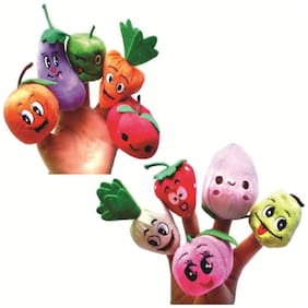 Skylofts Set Of 10 Fruits & Vegetables Animal Finger Puppet