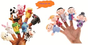 Skylofts Set of 16 Finger Puppets for Kids ( Pack of 6 Family Puppets with 10 Animal Puppets Soft Toys For Girls & Boys)